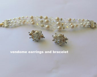 vendome pearl crystal bracelet and clip earrings