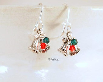SALE Christmas Bell  Earrings, Bell Earrings. Christmas Dangle Pierced or Clip-on Earrings, Handmade Earrings, CKDesignsUS