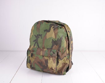Vintage Sportsmen Products Camo Nylon Backpack, Made in the USA / ITEM405