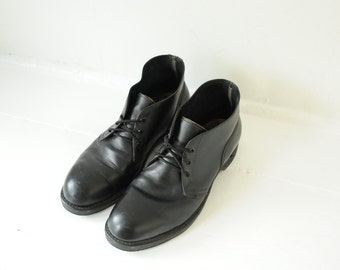 Vintage Black Leather Combat Steel Toe Motorcycle Riding Ankle Boots, Made in USA, Mens 9 / ITEM214