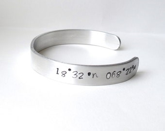 Coordinate Cuff Bracelet, Map Coordinates, Location, Special Place, Cuff, Bracelet, Jewelry