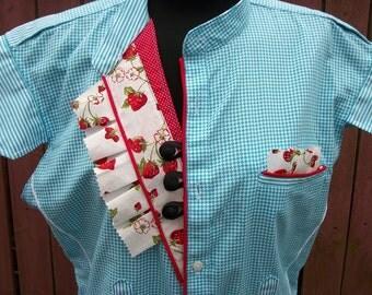 Turquoise & Red Strawberry Retro Blouse - Altered Clothing - Size Medium/Large