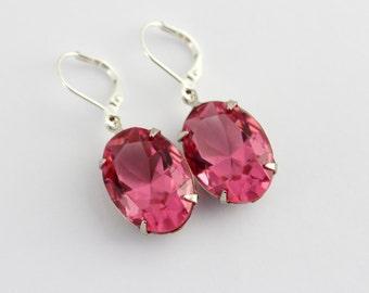 Swarovski Rose earrings, pink earrings, Swarovski earrings, bridal earrings, bridesmaid earrings, pink earrings, pink wedding, oval TR01