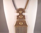 Vintage Large Bib Statement Runway Fringe Necklace Pendant ** Retro Collectible Costume High End Vintage Jewelry