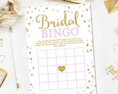 Bridal Shower Bingo Game, Bridal Bingo Cards, Bridal Bingo Printable Bridal Shower Games Gold Lavender Printable Instant Download BR3
