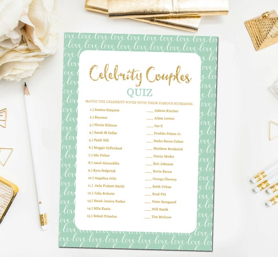Celebrity Wedding Trivia Questions: Mint And Gold Bridal Shower Games Celebrity Couples Quiz