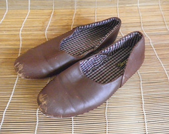 Vintage Man's Brown Woven Leather Slippers  - Size 43 EURO / US 10