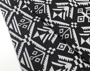 Thai Woven Fabric Tribal Fabric Native Fabric by the yard Ethnic fabric Aztec fabric Craft Supplies Woven Textile1/2yard Black White (WFF77)