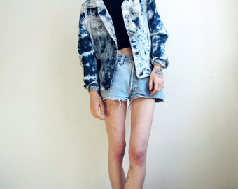 Denim Jacket Acid Wash Blue Jean Jacket Grunge Punk Small XS
