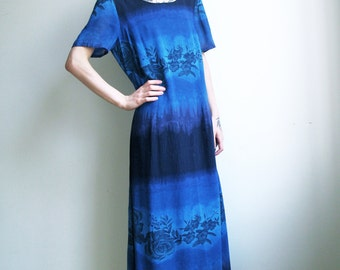 Blue Maxi Dress Floral 90s Tie Dye Boho Batik Dress Small Medium Large