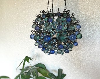 Vintage Round Orb Chandelier with Jewel Tone Beads