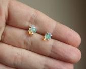 Sparkle - Raw opal stud post earrings sterling silver