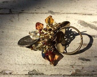 Charm Ring, Wire Wrapped, Adjustable, Antique Gold, Plated Brass, Brass Wire, Glass & Metal Beads, Faux QEII Coin, Steam PUnk, Whiskey