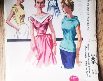 McCalls Pattern 3406 Vintage 1950's Cuff Blouse Bombshell Pinup Top