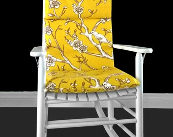 Yellow Floral Rocking Chair Cushion, Dwell Studio Vintage Blossom Citrine, Ready to Ship