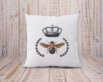 Bee pillow-bee with crown pillow-bee pillow cover-french pillow-rustic pillow-insect pillow-home decor-decorative pillow-NATURAPICTA NPCP006