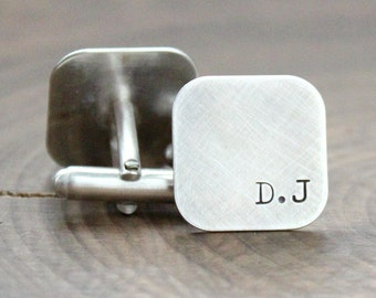 Personalized Cuff Links, Sterling Silver Cuff Links, Monogramed Cuff Links, Custom Links, Hand Stamped, Custom Men's Gift - Douglas Links