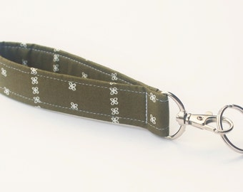 Wristlet Key chain, Fabric Key Fob With Snap, Olive Green