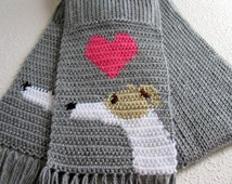 Greyhound scarf.  Gray knit scarf with fawn and white greyhounds and pink hearts.
