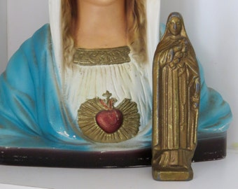 "Early 1900's  ST. THERESE 3.75"" Statue- Well loved and stunning- Perfect for your religious altar"