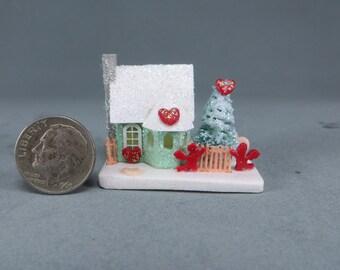 Miniature Putz Christmas house  OOAK by O'Dare