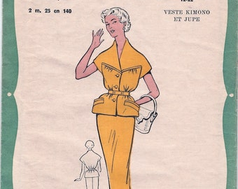 Fab Unused Vintage 1950s Favoris Et Parisiens 12.22 Kimono Sleeve Blouse and Slim Skirt Sewing Pattern Size 44