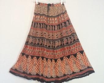 Vintage India Cotton Gauze Skirt / Ethnic Boho Sheer Indian Skirt / Gypsy Festival Skirt / One Size