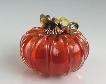"3.5"" Glass Pumpkin by Jonathan Winfisky - Transparent Bright Garnet Red - Hand Blown Glass"