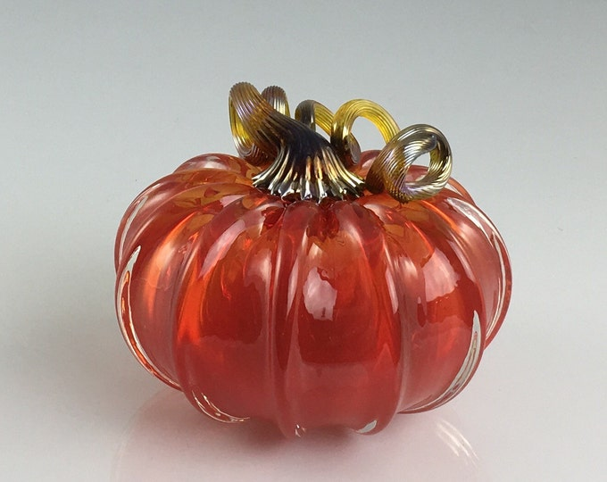 "Featured listing image: 3.5"" Glass Pumpkin by Jonathan Winfisky - Transparent Bright Garnet Red - Hand Blown Glass"