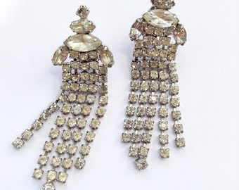 Art Deco Rhinestone Dangle Earrings Long & Glamorous Fringe Fashion Vintage Jewelry