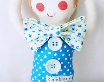 handmade personalised boy plush with handmade bow-tie, christening gift, new baby gift.