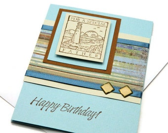 Father Birthday Card - Card For Dad - Happy Birthday Cards - Lighthouse Birthday Card - Handmade Stampin' Up Card