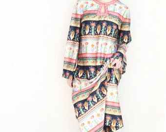 vintage floral boho caftan maxi dress