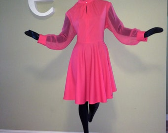 Plus Size Vintage 60s 70s Hot Pink Party Mini Dress 1960s 1970s Rockabilly Mad Men Swing Dance Drag Queen Halloween Party Extra Large XXL XL