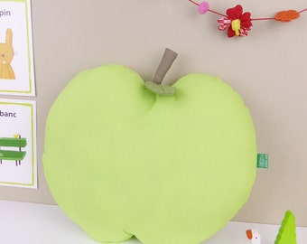 Green Apple shaped handmade Decorative Throw Pillow - Fruit cushion for children's bedroom or nursery
