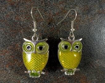 Owl Earrings, Animal Earrings, Yellow, Yellow Owls, Enamel Earrings, Silver, Cute Earrings, Owl Charm Earrings, Owl Jewelry