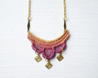 Gold and Burgundy Red Ombre Lace Necklace // Lace Jewelry