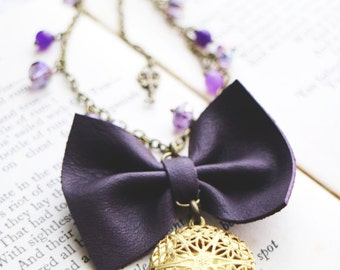 Leather bow necklace. Purple beads. Spring accessories. Golden locket. Genuine leather bow pendant. Amethyst beads. Bohochic