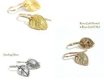 Tiny Leaf Earrings, Dainty Earrings, Nature Earrings, Minimalist, Simple Drop Earrings, Gold Filled, Rose Gold, Sterling Silver, Women Gift