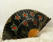 Vintage Fan Black and Green Lacquer with Red Roses and Gold Wood and Paper Vintage Hand Held Fan
