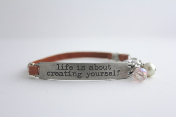 leather bracelet stamped jewelry inspirational quote life