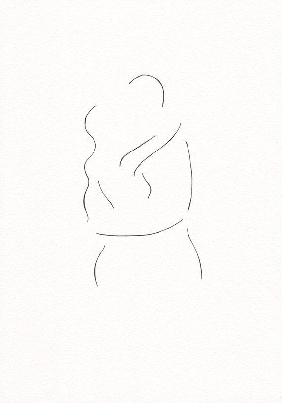Minimalist Line Art : Minimalist kiss drawing original line art illustration