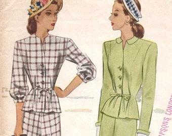 Vintage 1940s suit dress pattern -- McCall 6501