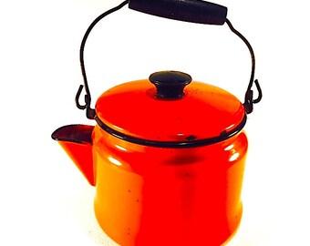 1960s Vintage Enamelware Red Orange Kettle - Teapot