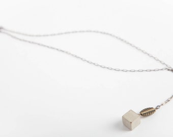 Concrete Jewelry: Concrete Cube w/Engraved Leaf Necklace/Cement/ Modern/Geometric/ Minimalist Jewelry/ Women's Gift Under 30