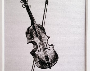 Violin Pen and Ink Drawing on Paper with Mat