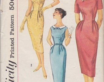 1958 Bombshell Sheath Wiggle Dress Vintage Pattern, Simplicity 2457, Peg Top Tight Skirt, Darts, Bias Trim, Short, No Sleeves Marilyn Monroe