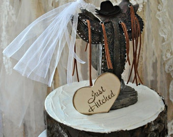 western saddle wedding cake topper bride and groom rustic country weddings just hitched wedding sign cowgirl cowboy barn wedding centerpiece