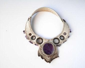 PARADOX V⎜Leather neckace  with gemstone⎜Leather jewelry⎜Burning man jewelry⎜Post apocalyptic necklace⎜Boho punk jewelry