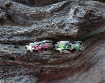 camo ring set his her camouflage stainless steel rings name rings wedding - Orange Camo Wedding Rings